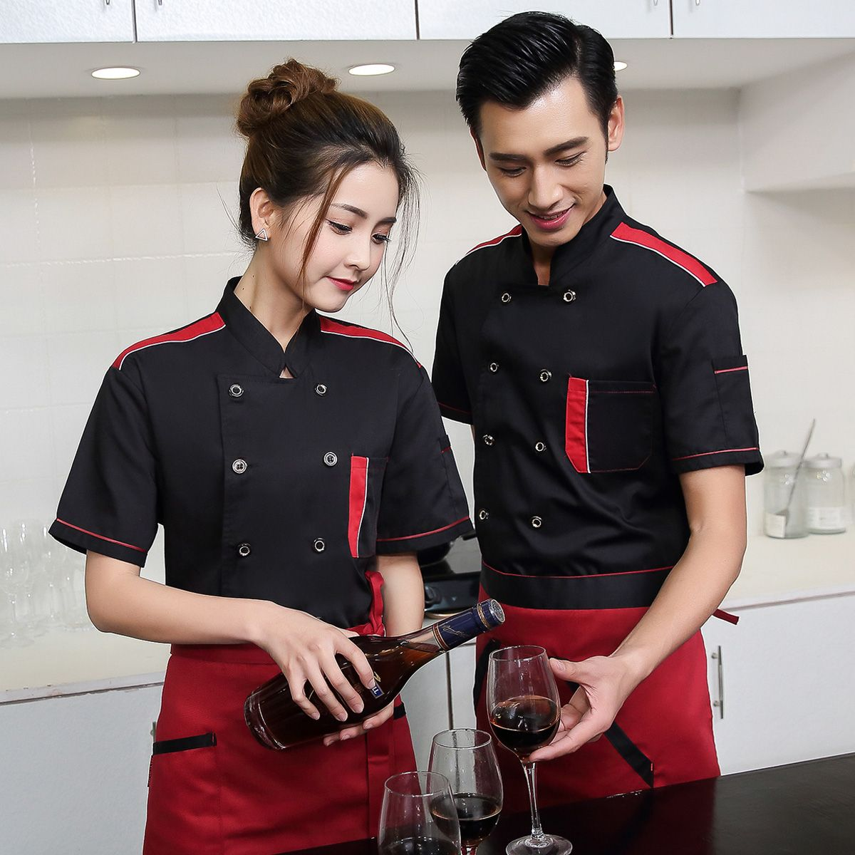 Restaurant Kitchen Uniforms chef wear short sleeved summer uniform hotel restaurant kitchen