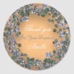 Photo of Eucalyptus Wreath Wedding Bridal Blue Coral Classic Round Sticker | Zazzle.com
