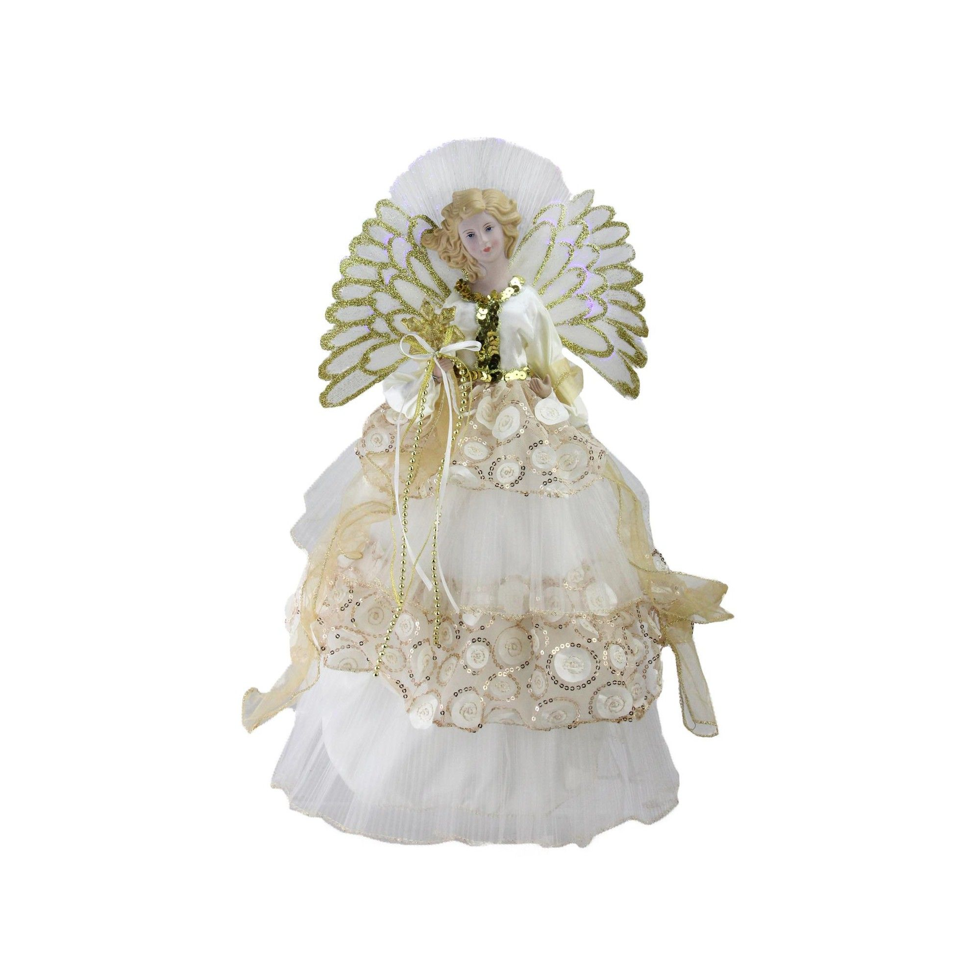 Northlight 16 Lighted Fiber Optic Angel in Cream and Gold Sequined ...