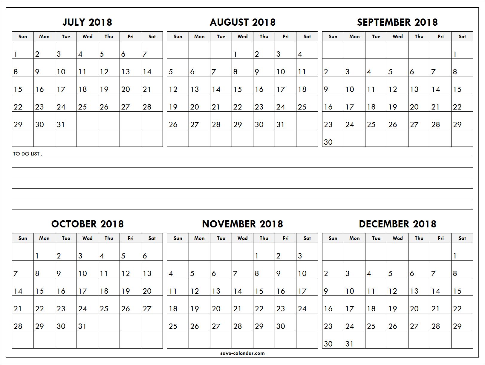 six month calendar template