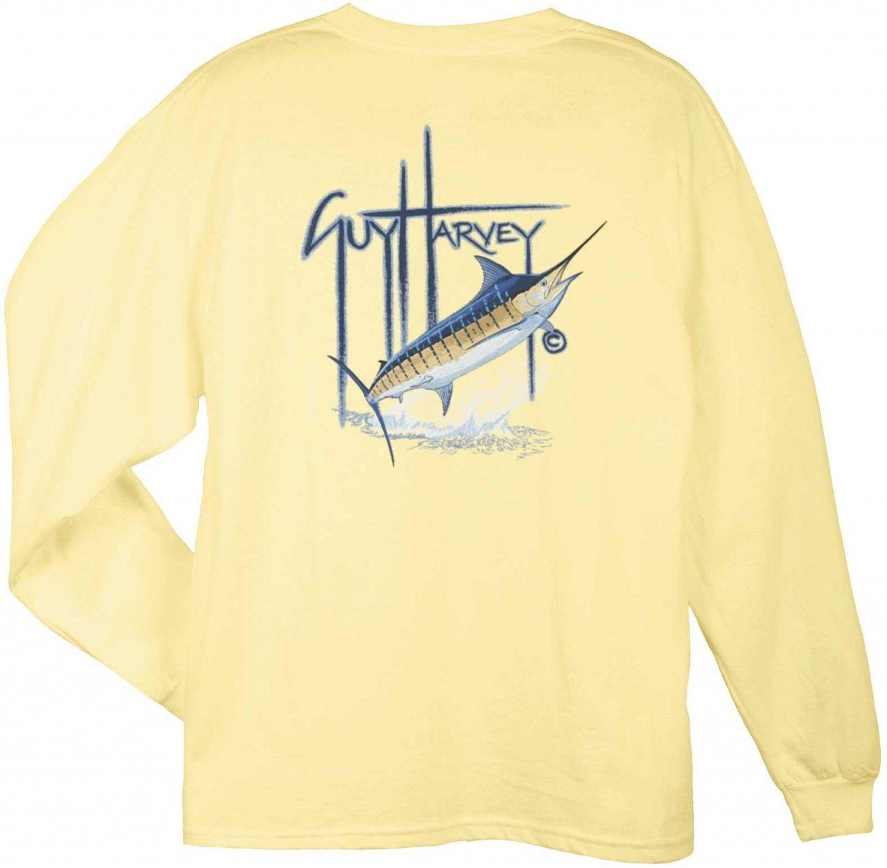 f8f66e74 Guy Harvey Shirts - Guy Harvey GH Blue Back-Print Long Sleeve Tee in Yellow