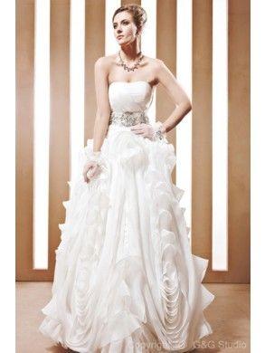 Stunning A-Line Strapless Organza and Satin Ruffles Wedding Dress WAL06455-G