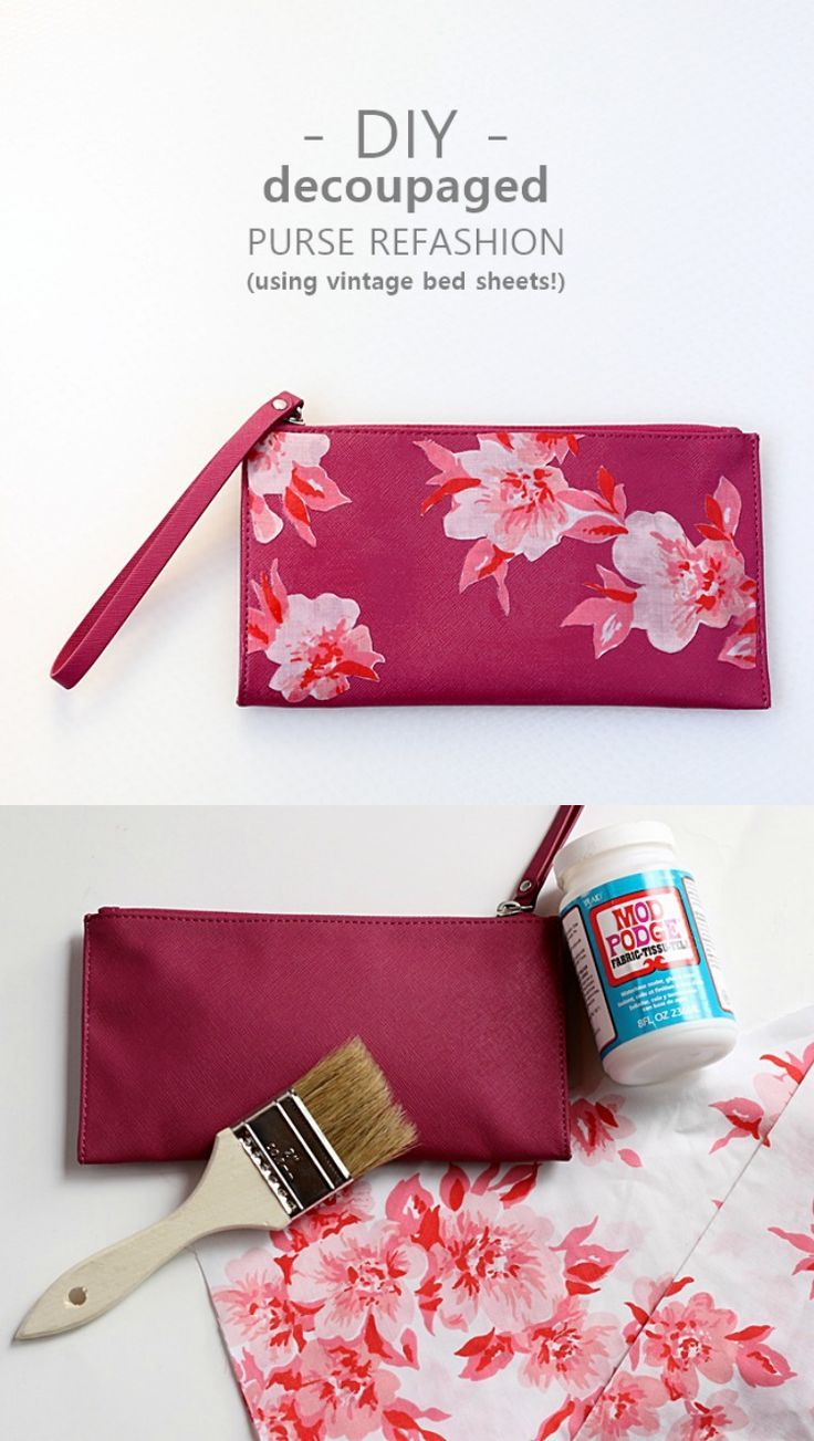 Use a vintage sheet and decoupage medium to make this fabulous purse refashion - it's such an easy craft project, and very budget friendly!