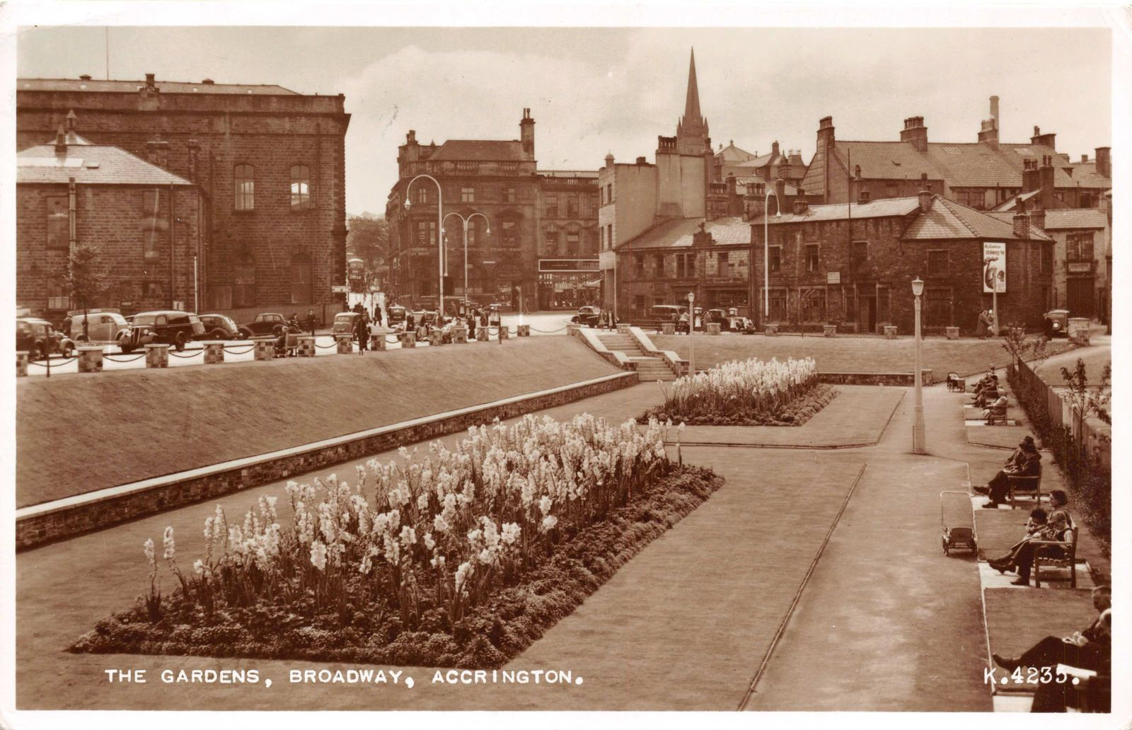 R111238 The Gardens. Broadway. Accrington. Valentine. RP. 1954