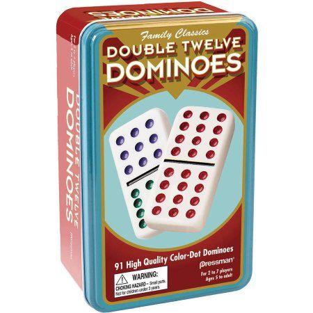 Double Twelve Color Dot Domino Set in Tin