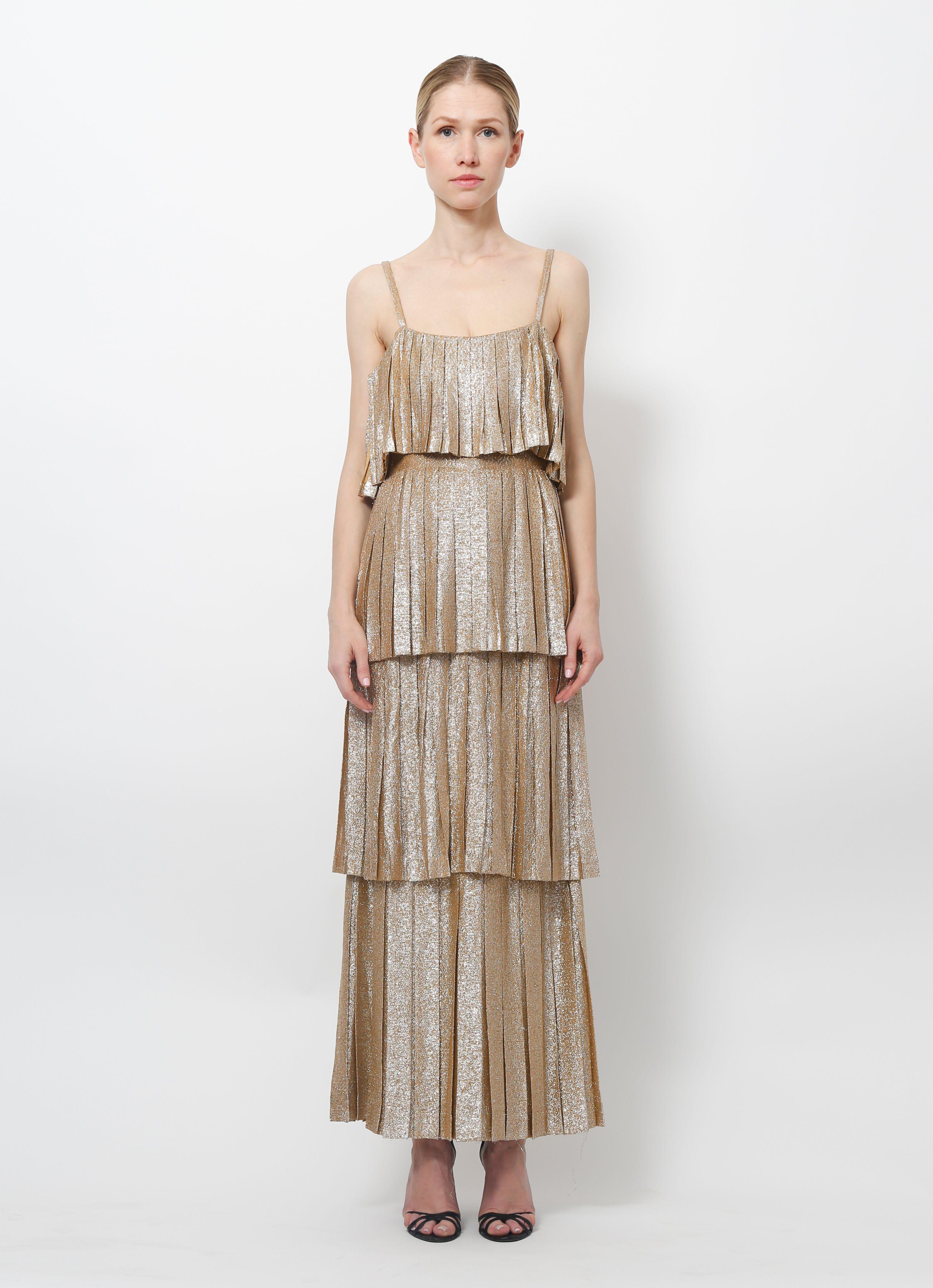 Lanvin 70 S Metallic Tiered Dress Resee Dresses 70s Dress Tiered Dress [ 4127 x 2990 Pixel ]