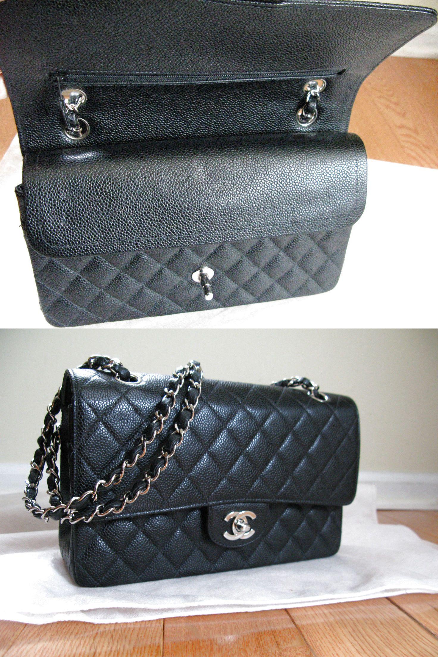 ca18cfa09cd38 EUC Authentic Chanel Black Caviar Medium 2.55 Classic Double Flap Bag   3499.0