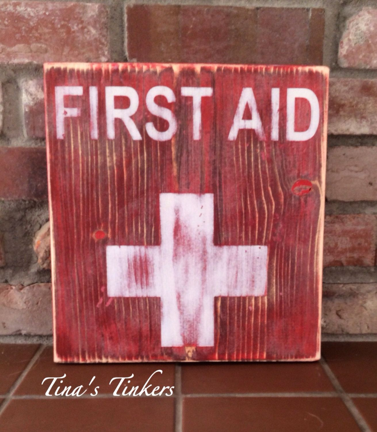 First Aid Painted Wood Sign Vintage Rustic Distressed