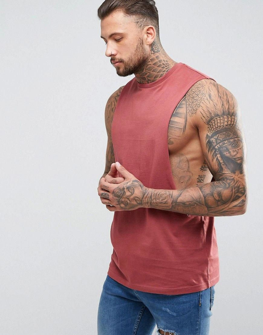ASOS Longline Tank with Extreme Dropped Armhole Red