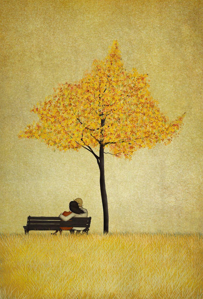 "Under the cherry tree - Autumn - (Illustration print size 5"" x 7"") by majalin on Etsy"