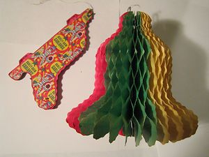 2 vintage retro tissue bell shaped Christmas garlands decorations |