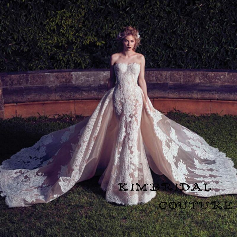 Free Shipping Buy Best Arabic Wedding Gowns Court Train Lace Appliques Champagne Detachable Sweetheart Neckline Mermaid Bridal Dresses 2017 Online