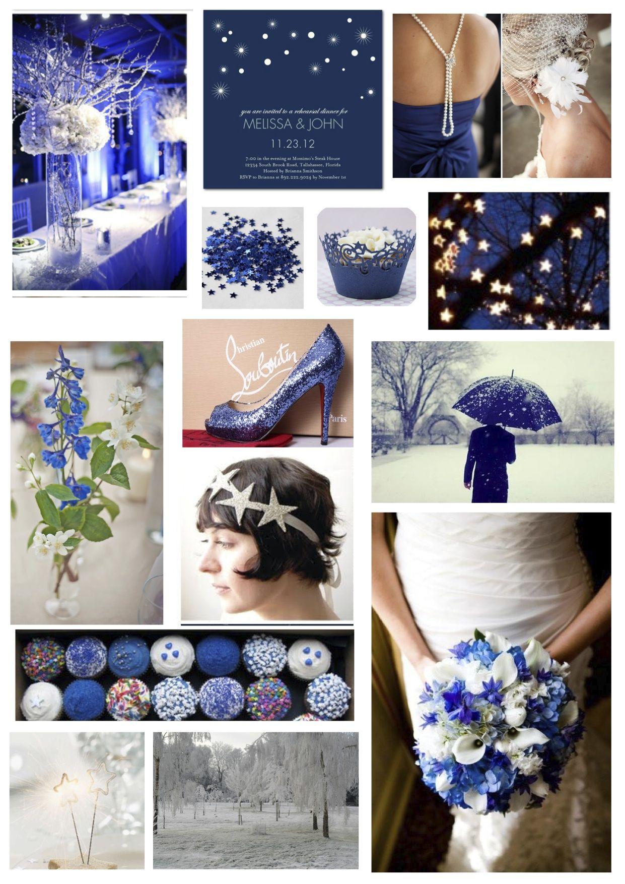 Starry Night Wedding Theme Winter Midnight Blue Sparkle