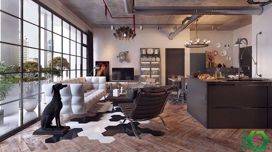 Soggiorno Rustico ~ Arredare un open space cucina soggiorno rustico 05 interior
