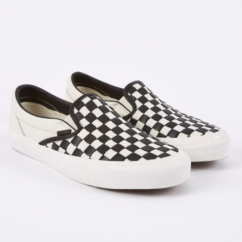 vans slip on leather checkerboard