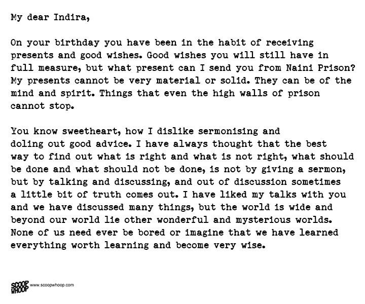 Nehru S Letter To Daughter Indira From Prison I The Best Advice A Father Can Give Good Lettering Gandhi Essay In Hindi