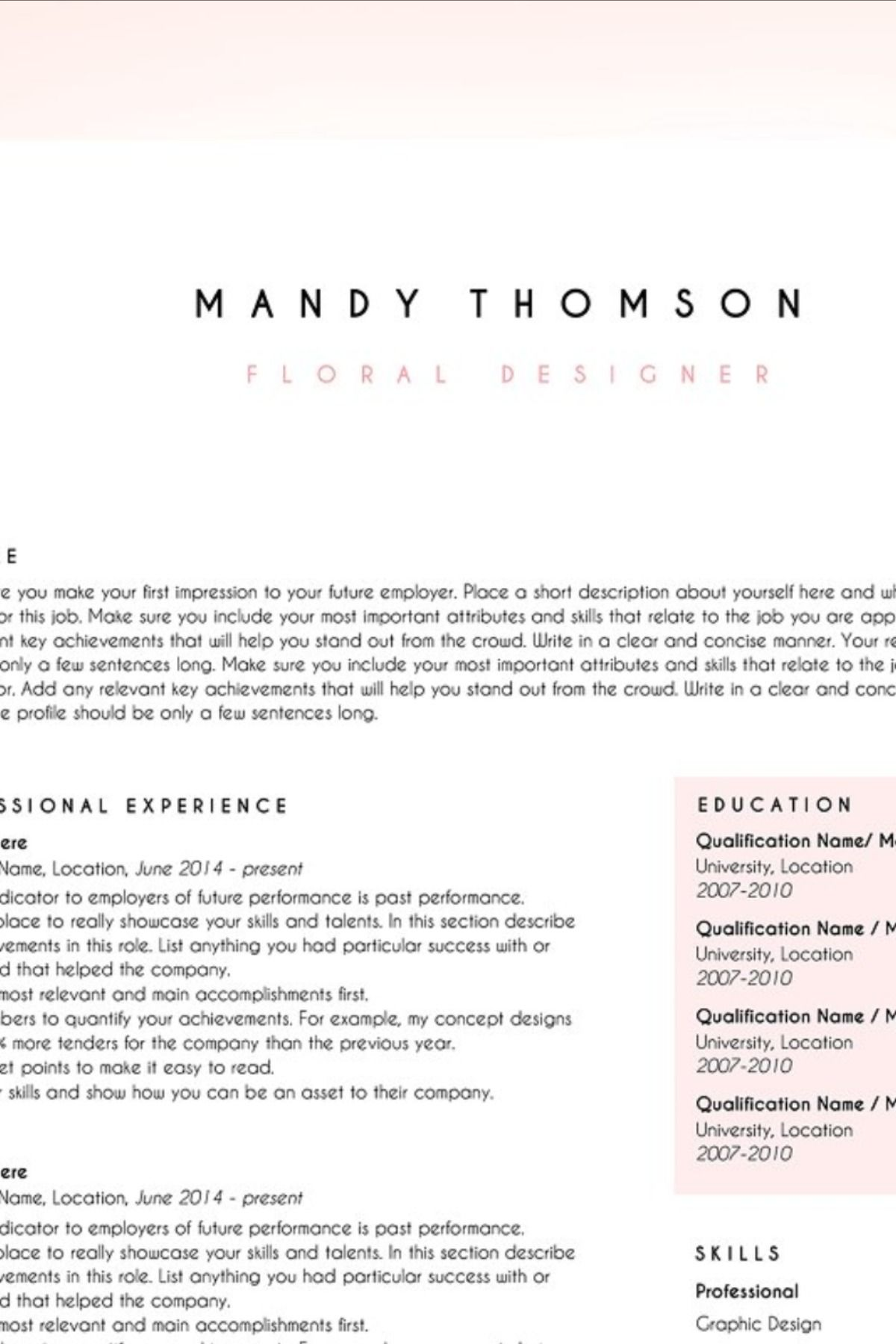 Creative resume template word floral in 2020 Resume