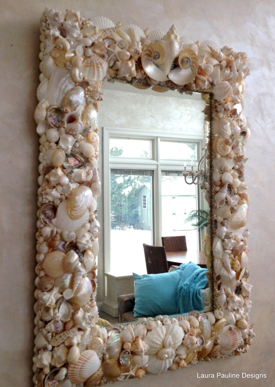 Seashell Mirror From Handmade Art Board Seashell Art Diy Seashell Crafts Shell Mirror