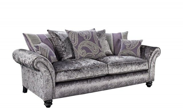 Hollywood3 Seater Pillow Back Sofa Glamour Collection In Steel Cushions On Sofa Sideboard Furniture Sofa