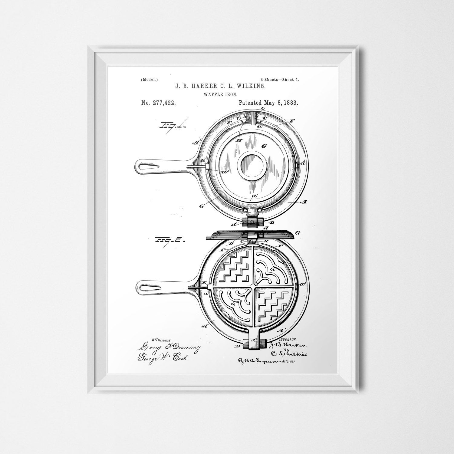 Waffle Iron Patent, Cooking INSTANT DOWNLOAD, Waffle Printable ...