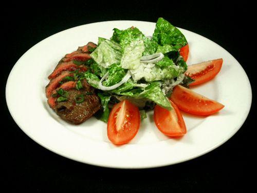 Black And Blue Steak Grilled Beef Tenderloin Crisp Field Greens