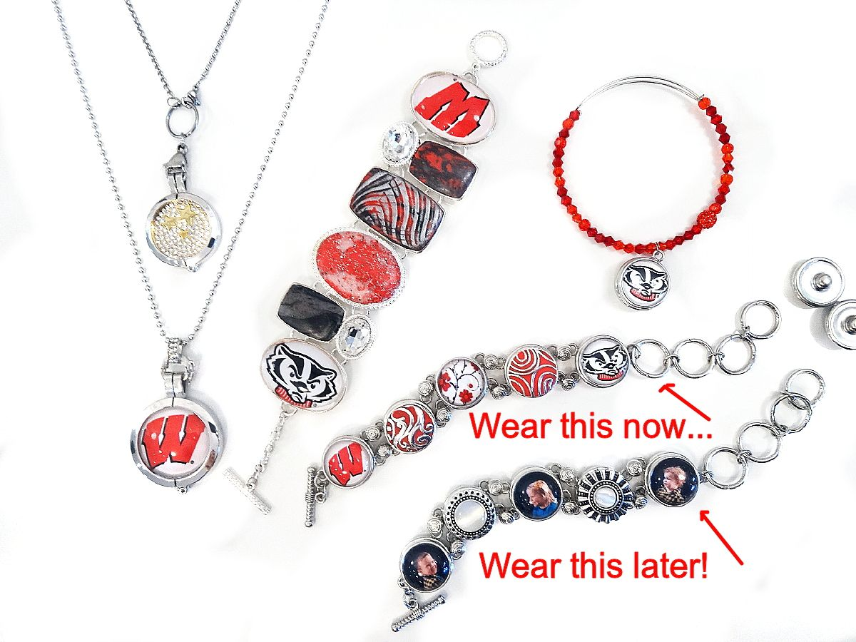 Custom university of wisconsin badgers jewelry created with stickers and cc3 jewelry clay