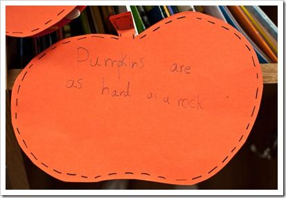 Pumpkin similes (to be used with pumpkin adjectives).  What a great way to introduce the little ones to similes! #Halloween #Fall