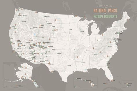 US National Parks Monuments Forests Map 24x36 Poster Park and