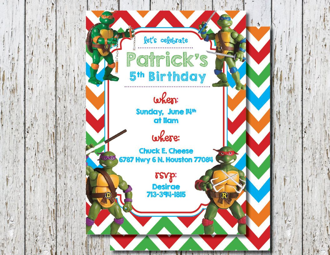 Teenage Mutant Ninja Turtles Invite, Ninja Turtles birthday ...