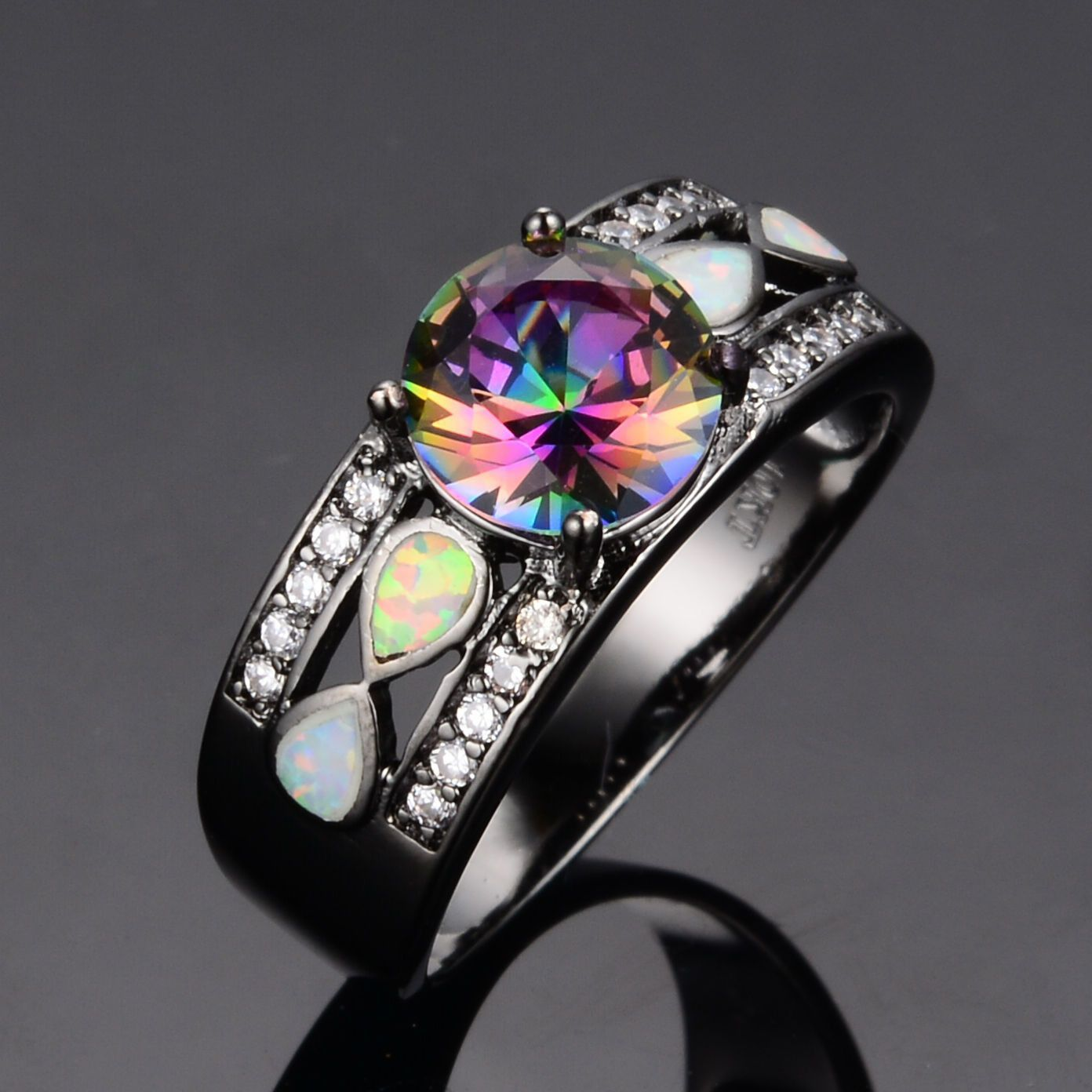 10k Black Gold Rainbow Topaz Fire Opal Ring Black Engagement Ringsgothic