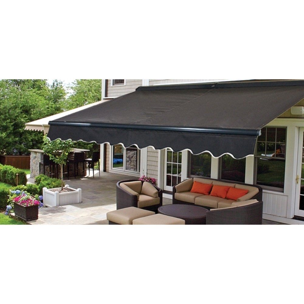 Aleko Half Cassette Retractable Patio Deck Awning 13x10 Ft Black Color Polyester In 2020 Patio Design Patio Sun Shades Patio Awning