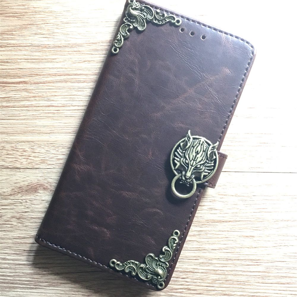 S10E Note 8 9 Antique Goth Skull Envelope Phone Handmade Leather Wallet Case Flip Cover For Samsung Galaxy S7 Edge S8 S9 S10 Plus