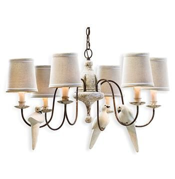 Moliere rusted arm chandelier with doves transitional chandeliers kathy kuo home