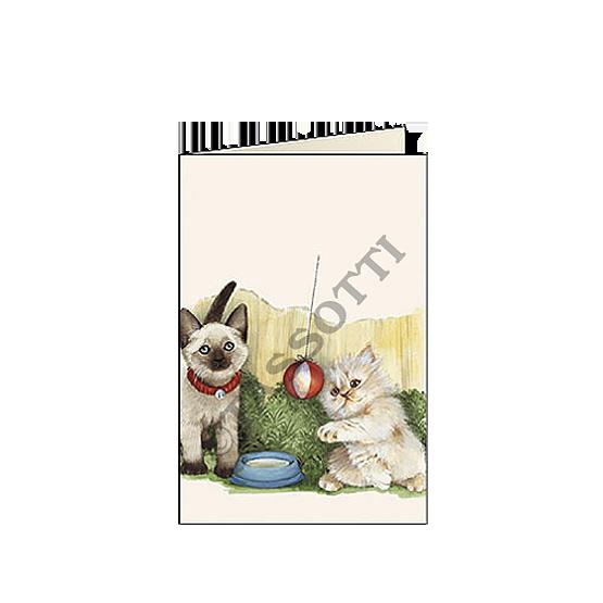"biglietti d'auguri piccoli 7x105 cm tassotti ""gattini"