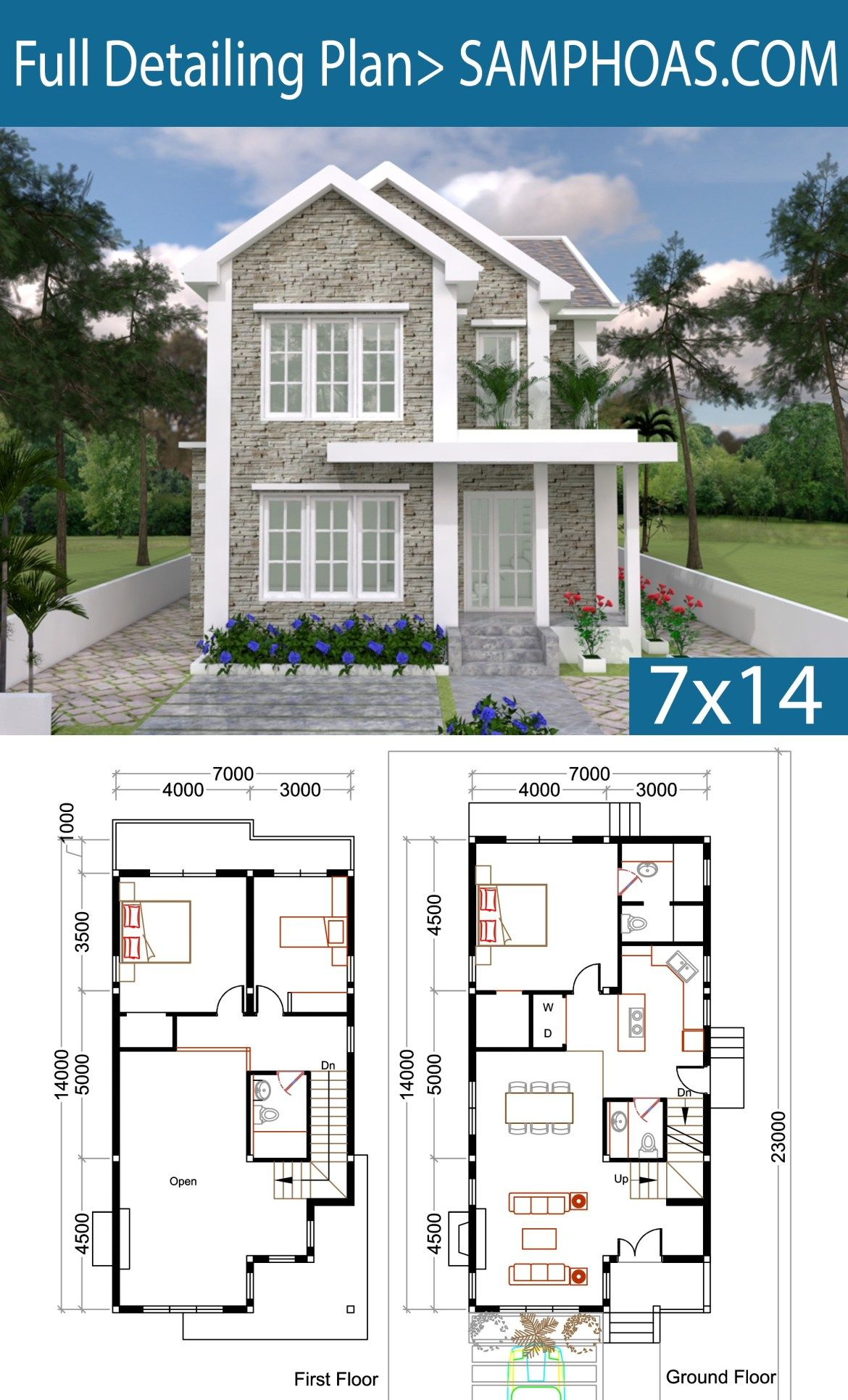 3 Bedrooms Home Plan 7x14m Samphoas Plansearch House Design Dream House Plans House Plans