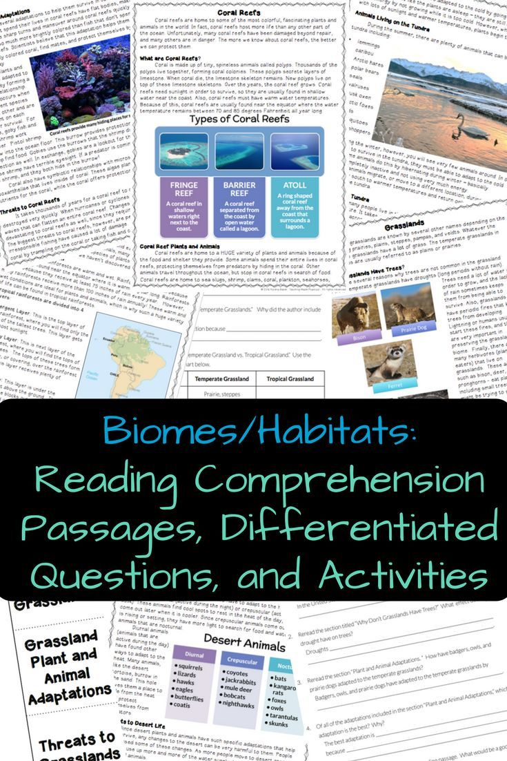Biomes and Habitats - Reading Comprehension - Differentiated
