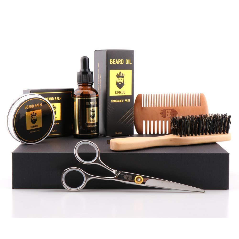 Beard Grooming Kit5in1Unscented Beard Oil and Beard BalmBeard BrushBarber Scissors for Styling