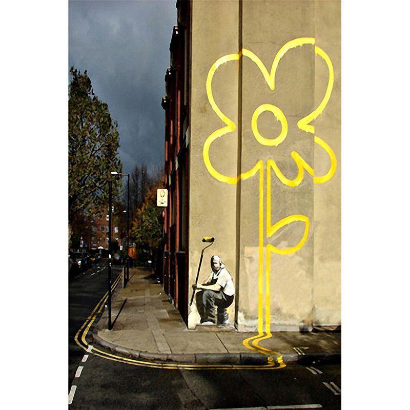 iART Banksy \' Lines Flower Road Painter\' Print Wall Art | Art ...