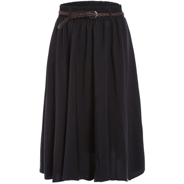 Stylish Belted Black Pleated Skirt For Women ❤ liked on Polyvore featuring skirts