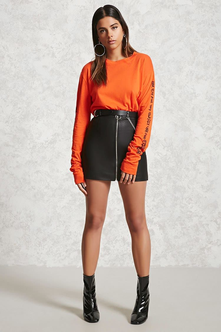 Satin-Lined Zipper Mini Skirt - Skirts - 2000268728 - Forever 21 EU English