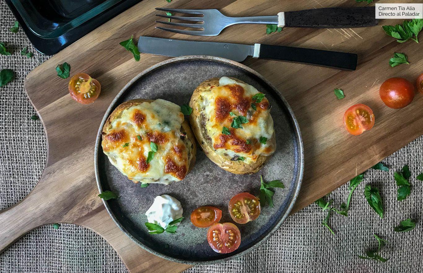 Patatas Rellenas Al Horno Receta Vegetariana Que Todos Querran Probar Receta Patatas Rellenas Al Horno Recetas Con Patatas Patata Rellena