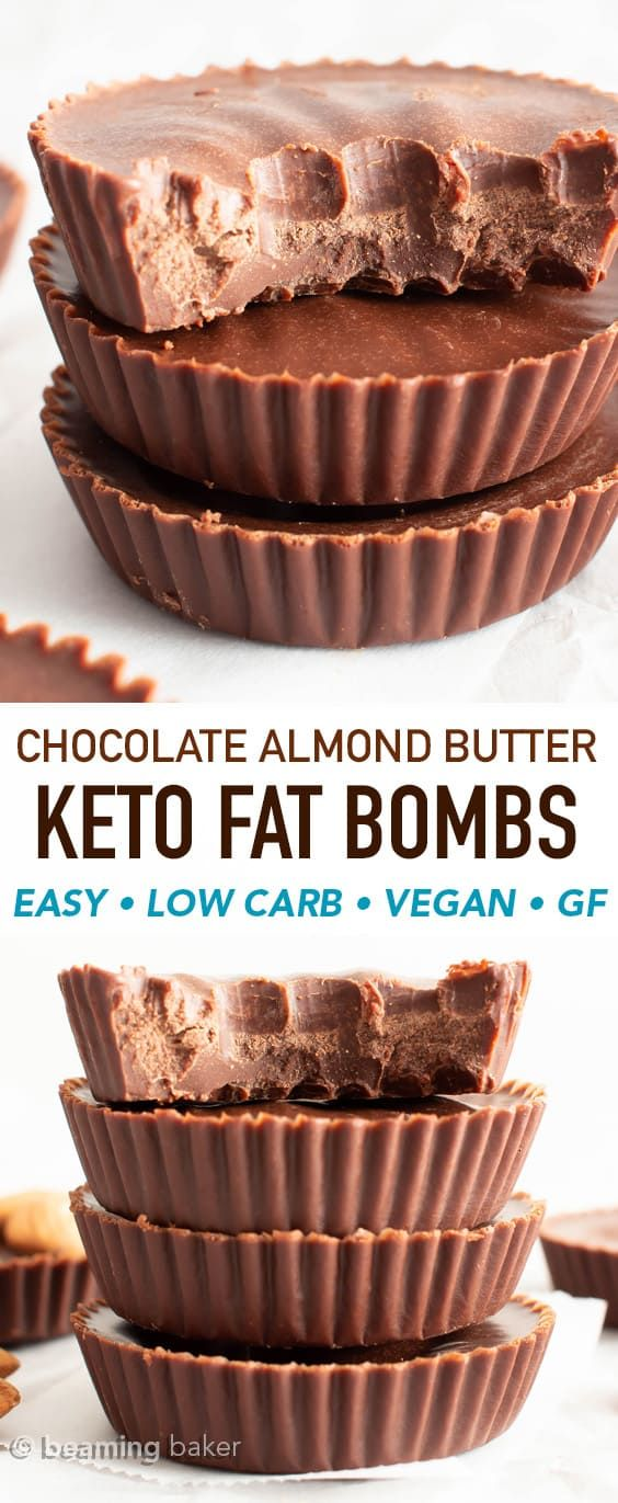 Chocolate Almond Butter Keto Fat Bombs Recipe (Easy, Low Carb, Vegan) - Beaming Baker