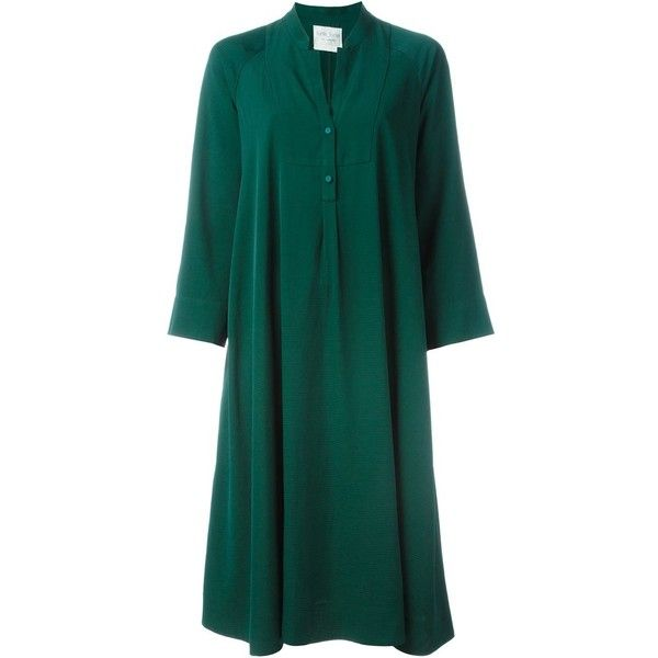 Forte Forte Three-Quarter Sleeve Buttoned Dress (30.560 RUB) ❤ liked on Polyvore featuring dresses, green, button dress, 3/4 sleeve dress, green dress, 3/4 length sleeve dresses and three quarter length sleeve dress