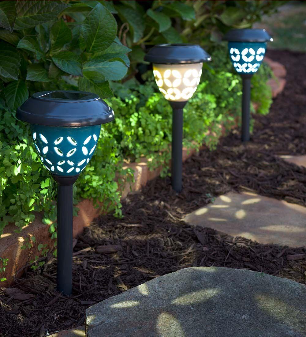 Ceramic Solar Path Lights Set Of 2 Solar Lighting Vintage Outdoor Lighting Solar Path Lights Outdoor Solar Lights