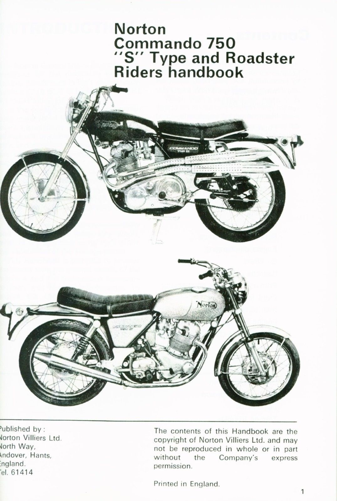 Norton Commando Roadster and S Type Riders Handbook Manual 1969 750cc 06  7305   eBay