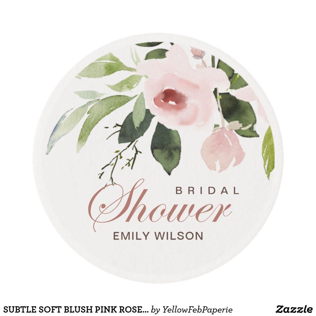 Subtle Soft Blush Pink Rose Floral Bridal Shower Edible Frosting Rounds Zazzle Com Blush Pink Blush Pink Rose Pink Floral