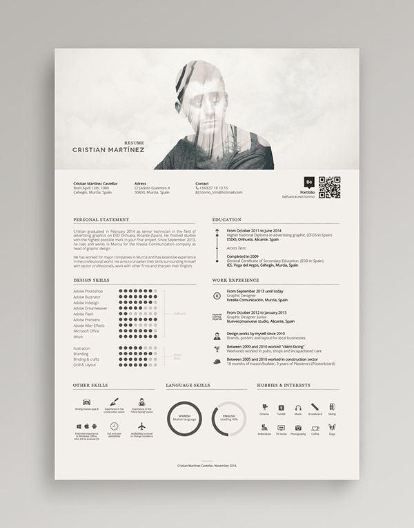 Damn cool resume! He mixed the double exposure for his profile - Cool Resume Layouts