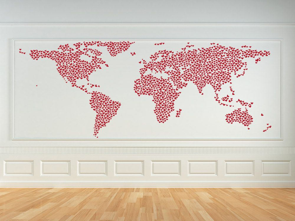 World of love and hearts map vinyl wall art decal 6500 via world of love and hearts map vinyl wall art decal 6500 via etsy gumiabroncs Images