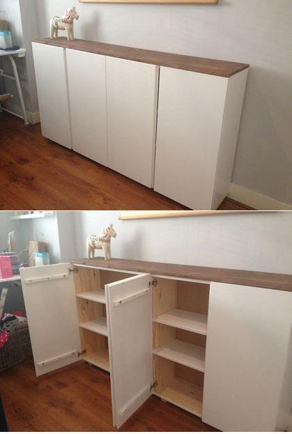 Ivar IKEA painted white / wit hoogglans geschilderd kastje Ivar van Ikea met losse plank (praxis) erop bevestigd.