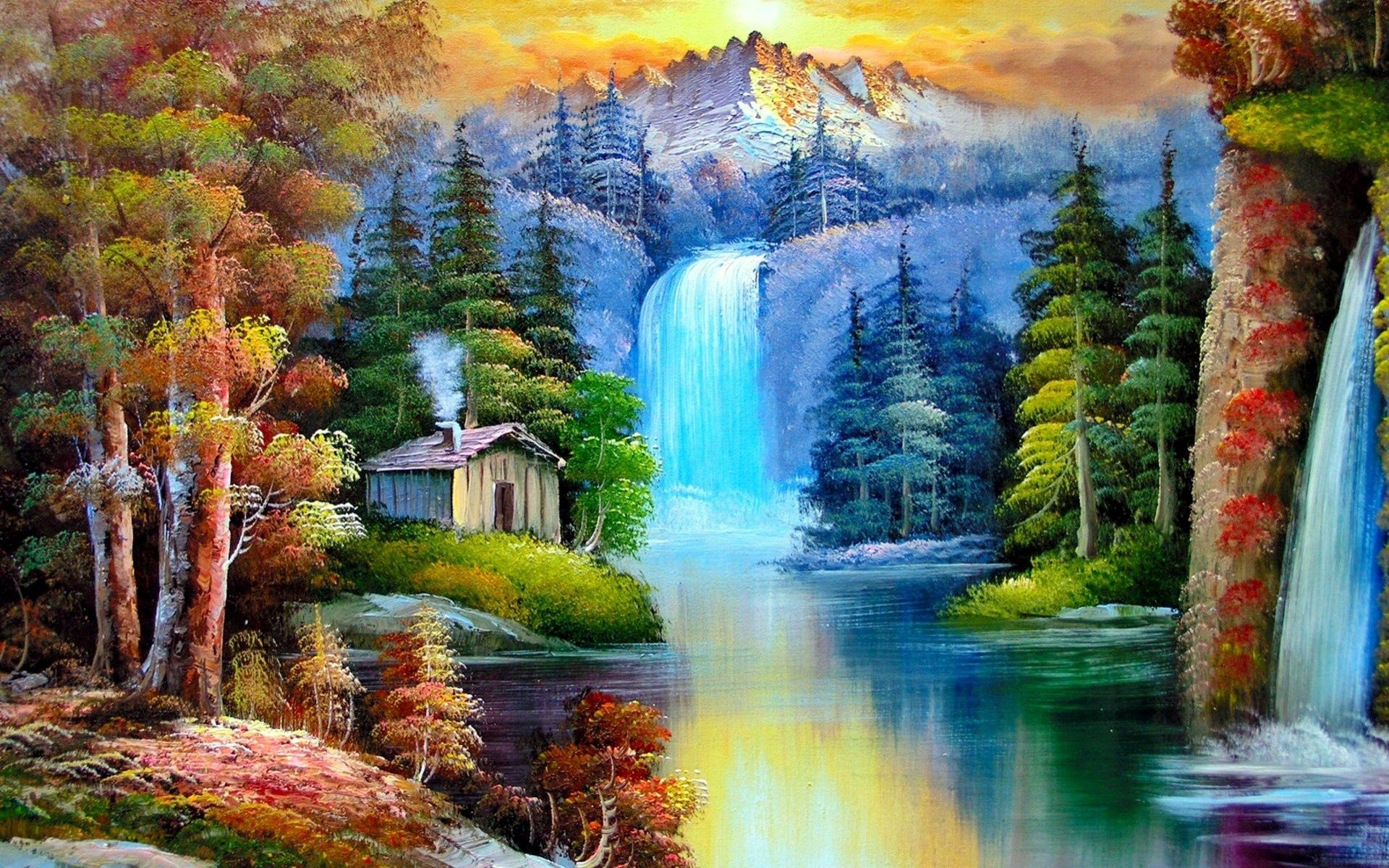 Http Wallsistah Com Wp Content Uploads 2013 10 Colorful Nature Painting 328280 Jpg Beautiful Paintings Of Nature Nature Paintings Landscape Paintings